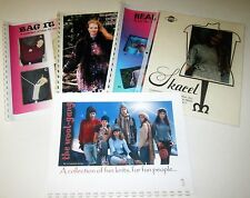 Lot of 5 SKACEL knitting pattern and spiral bound leaflets SWEATERS BAGS HATS