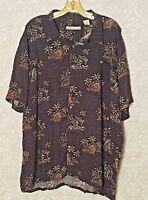 Batik Bay XXL Aloha Island Palms Ocean Black Multi-color Hawaiian Shirt