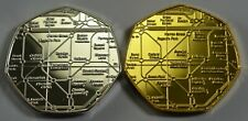 Pair of LONDON UNDERGROUND Silver & 24ct Gold Commemoratives Subway/Railway/Tube