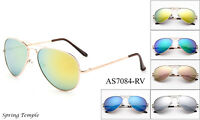 Large Aviator Sunglasses Flash Mirror Lens Men's Women's Vintage Frame Retro UV
