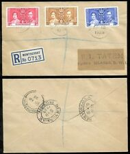 MONTSERRAT 1937 KG6 CORONATION SET REGISTERED COVER NY +PLYMOUTH DEVON +TURKS Is