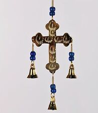 """Brass Hanging Cross with Bells and Blue Beads Chime 11"""" long"""