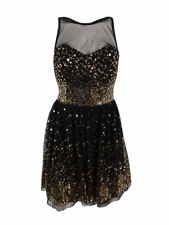 Crystal Doll Juniors' Sleeveless Mesh Sequin Dress 7, Black/Gold