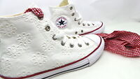 CONVERSE 663995C Chuck Taylor All Star Hi White Garnet Bianco Junior Girl pizzo