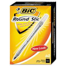 60 Bic Round Stic Black Ball Point Stick Pens