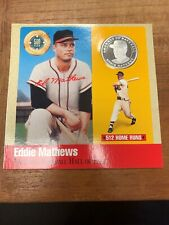 1990 Legends Of Baseball Eddie Mathews Milwaukee Braves Pure Silver Coin