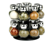 16 Pcs Glass Round Revolving Spice Jars Food & Kitchen Storage Racks & Holders