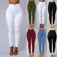 Women Denim Skinny Leggings Pants High Waist Stretch Jeans Rose Pencil Trousers