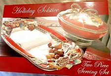 Fitz & Floyd Holiday Solstice Christmas Divided Server Platter Veg Bowl 2 Pc Set