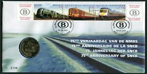 Belgium 75th Anniversary of SNCB 2001 CuNi BU Medal in Special Cover Trains Locs