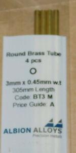 ALBION ALLOYS BT3 M ROUND BRASS TUBE 3mm x 0.45mm x 2.1mm x 305mm