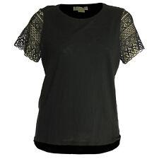 Michael Kors 1x Black Short Crochet Sleeve Shirt Top Tee NWT FREE SHIP Plus Size