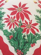 Vtg 50's Christmas Tablecloth Bright Red Poinsettia Flower Arrangement w/ Candle