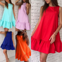 Women Loose Sleeveless Mini Short Dress Summer Ruffle Beach A Type Dresses S-2XL