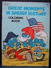 1982 Great Moments In Smurf History Happy House Peyo art Coloring Book FREE S/H