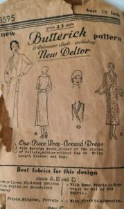 Vintage 1920s Butterick Sewing Sewing Pattern 3595 Wrap Dress Bust 38 Incomplete