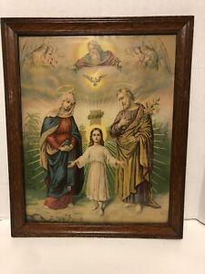 "ANTIQUE Framed 22"" X 18""  Religious Print JESUS MARY & JOSEPH Germany LEIBER VGC"