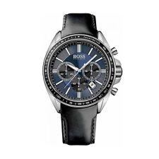 HUGO BOSS Uhr 1513077 Driver Sport Herren Chronograph Leder Schwarz Armbanduhr