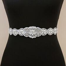 Vintage Crystal Bridal Sash Rhinestone Pearl Beaded Wedding Dress Belt Y2CA