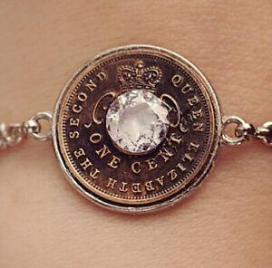 Zircon Gemstone & Antique Queen Crown Coin Bracelet Steampunk Original