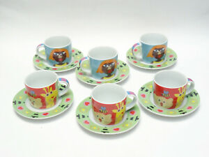 SET of 6 ANDREA FONTEBASSO 1760 ESPRESSO COFFEE CUPS WITH SAUCERS