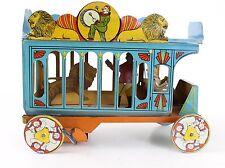 Vintage Ferdinand Strauss BIG SHOW CIRCUS Tin Windup Car w/ Moving Lion & Tamer