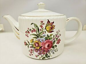 Ellgreave Teapot Genuine Ironstone Floral Bouquet Wood and Sons Vintage
