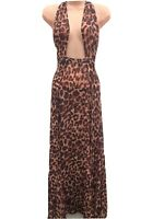 Asos Maxi Semi Sheer Leopard Animal Print Beach Dress Cover Up Sizes 4-18