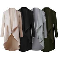 Women's Long Waterfall Solid Coat Jacket Open Cardigan Outwear Sweater Jumper