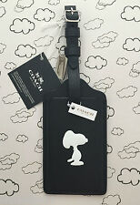 COACH X PEANUTS SNOOPY BLACK LEATHER LARGE LUGGAGE TAG LIMITED EDITION RARE NWT