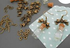 magnifique  kit création paire de boucles d'oreilles bronze fiole