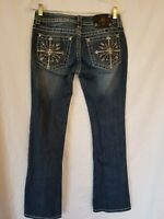 Miss Me Jeans Bling Embellished Cross Tag 29 Actual 28 JP5650BV Boot **FLAW**