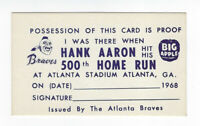 1968 Hank Aaron 500th Home Run I was there card Atlanta Braves issued HR KING