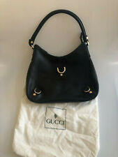 GUCCI Classic Black Leather D-Ring Hobo Bag- Elegant Style