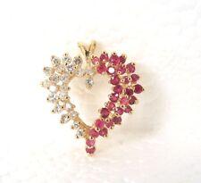 Ruby .65 ct Diamond .30 ct 14k YG Heart Pendant ~ GAL Appraisal ~ Gift Boxed