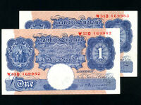 Great Britain:P-367a,1 Pound X 2,PAIR,1940-48 * AUNC * WWII *