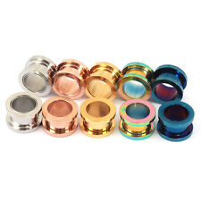SCREW ON 316 Stainless Steel Metal Ear Flesh Tunnel Plug 3mm - 30mm Body Jewely
