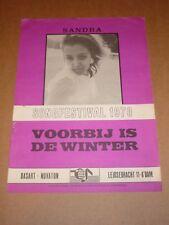 "SANDRA ""Voorbij est de WINTER"" songfestival 1970 DUTCH sheet music (EUROVISION)"