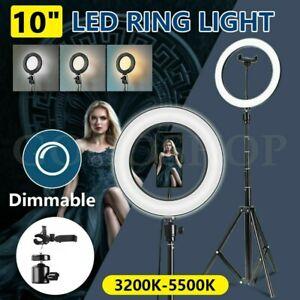 10 Inch Premium 195cm Tall Tripod LED Ring Light Kit Dimmable Studio Phone Video