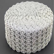 "3.75""x1-10 YRDS FLOWER DIAMOND MESH WRAP ROLL CRYSTAL RHINESTONE BLING RIBBON"