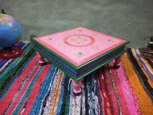 Holz Klein Tisch Chowki Geprägt Malerei Holz Puja Bajot Sockel Heim Hocker