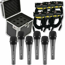 Sennheiser e 835 Dynamic Cardioid Lead Vocal Microphone 6 Pack w/ Case & Cables