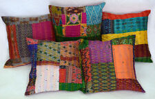 """Vintage Kantha Cushion Cover Silk Patola of 5 PC Pillow Case Patchwork Throw 16"""""""