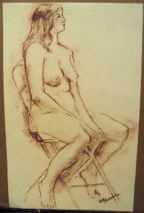 """""""FAST SKETCH OF FEMALE NUDE"""" by Ruth Freeman  INK 13 1/4"""" X 20  3/4"""""""