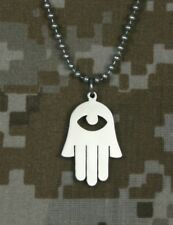 "GI Jewelry U.S. Military Issue Jewish HAMSA HAND of GOD pendant 24"" necklace"