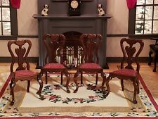 DOLLHOUSE MINIATURE ARTISAN SIGNED IVAN LAWSON '81 SET OF 4 SIDE CHAIRS