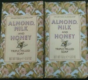 CRABTREE & EVELYN ALMOND MILK AND HONEY SOAP 2 BARS TRIPLE MILLED  New