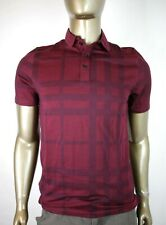$395 Burberry Men's London Burgundy Checkered Cotton Jersey Polo Shirt M 3934133