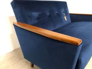 DANISH VINTAGE INSPIRED MODEL 55 MID CENTURY 2 SEAT SOFA IN ROYAL BLUE VELVET