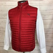 PUMA Ultra Light Packable Down Puffer Red Vest Jacket Size MEDIUM M Quilted Top